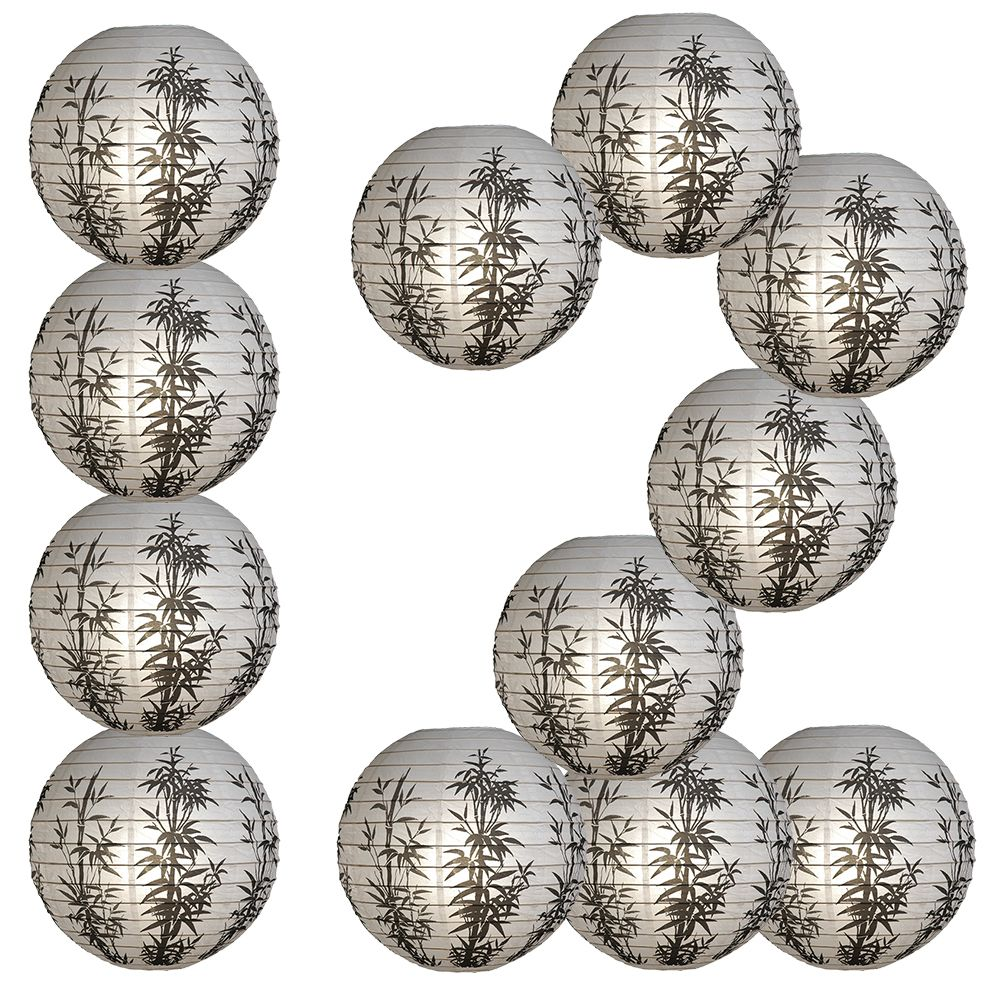 "12 PACK | 16"" Bamboo Pattern Paper Lantern - PaperLanternStore.com - Paper Lanterns, Decor, Party Lights & More"