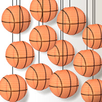 12 PACK | Basketball Paper Lantern Shaped Sports Hanging Decoration
