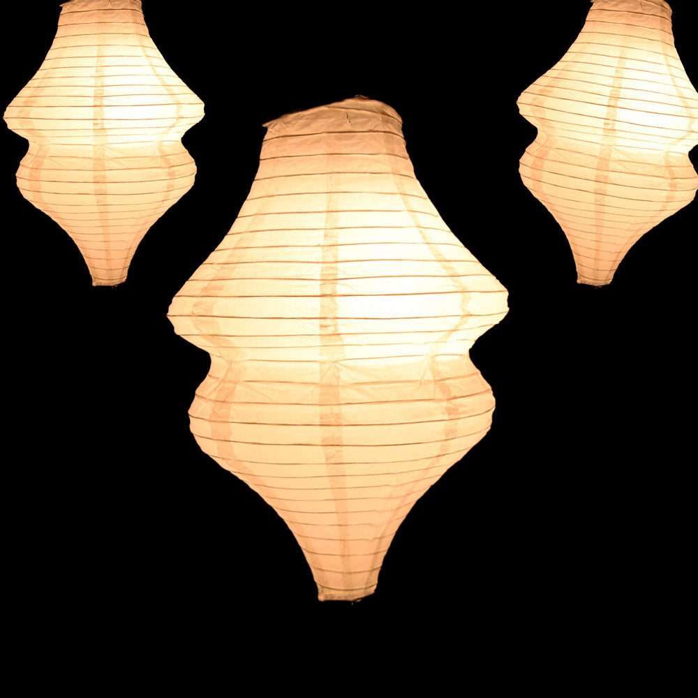 Beige / Ivory Beehive Unique Shaped Paper Lantern, 10-inch x 14-inch