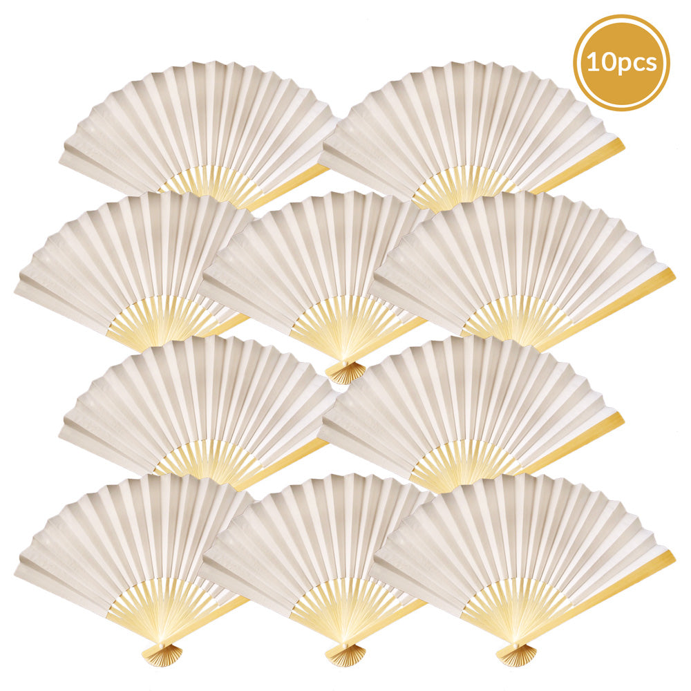 "9"" Beige / Ivory Paper Hand Fans for Weddings, Premium Paper Stock (10 Pack)"