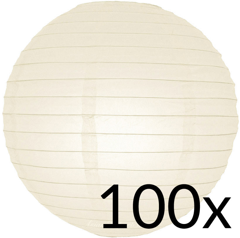 "BULK PACK (100) 12"" Beige / Ivory Round Paper Lanterns, Even Ribbing, Hanging Decoration"
