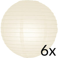 "BULK PACK (6) 12"" Beige / Ivory Round Paper Lanterns, Even Ribbing, Hanging Decoration"