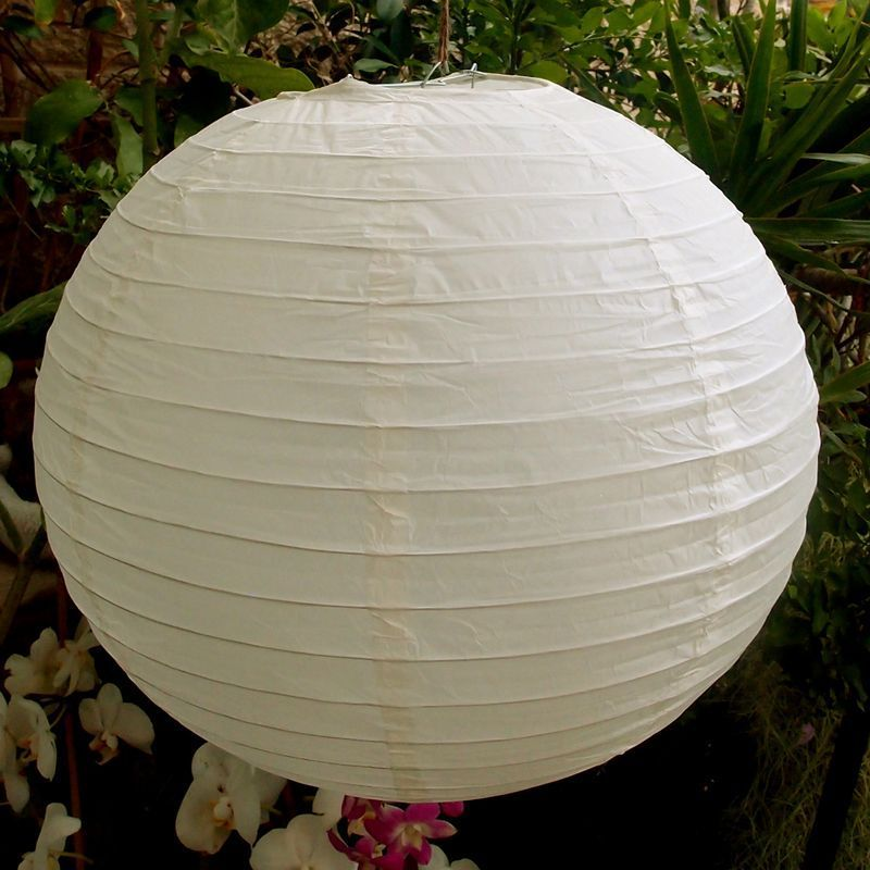 "BULK PACK (100) 16"" Beige / Ivory Round Paper Lanterns, Even Ribbing, Hanging Decoration - PaperLanternStore.com - Paper Lanterns, Decor, Party Lights & More"