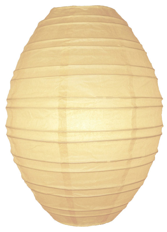 Beige / Ivory Kawaii Unique Oval Egg Shaped Paper Lantern, 10-inch x 14-inch