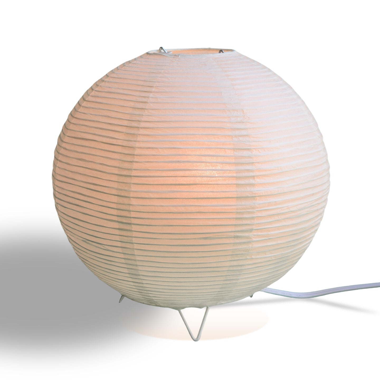 Beige/Ivory Corded Round Table Top Lantern Lamp Kit w/ Light Bulb, Fine Line Paper Moon - PaperLanternStore.com - Paper Lanterns, Decor, Party Lights & More