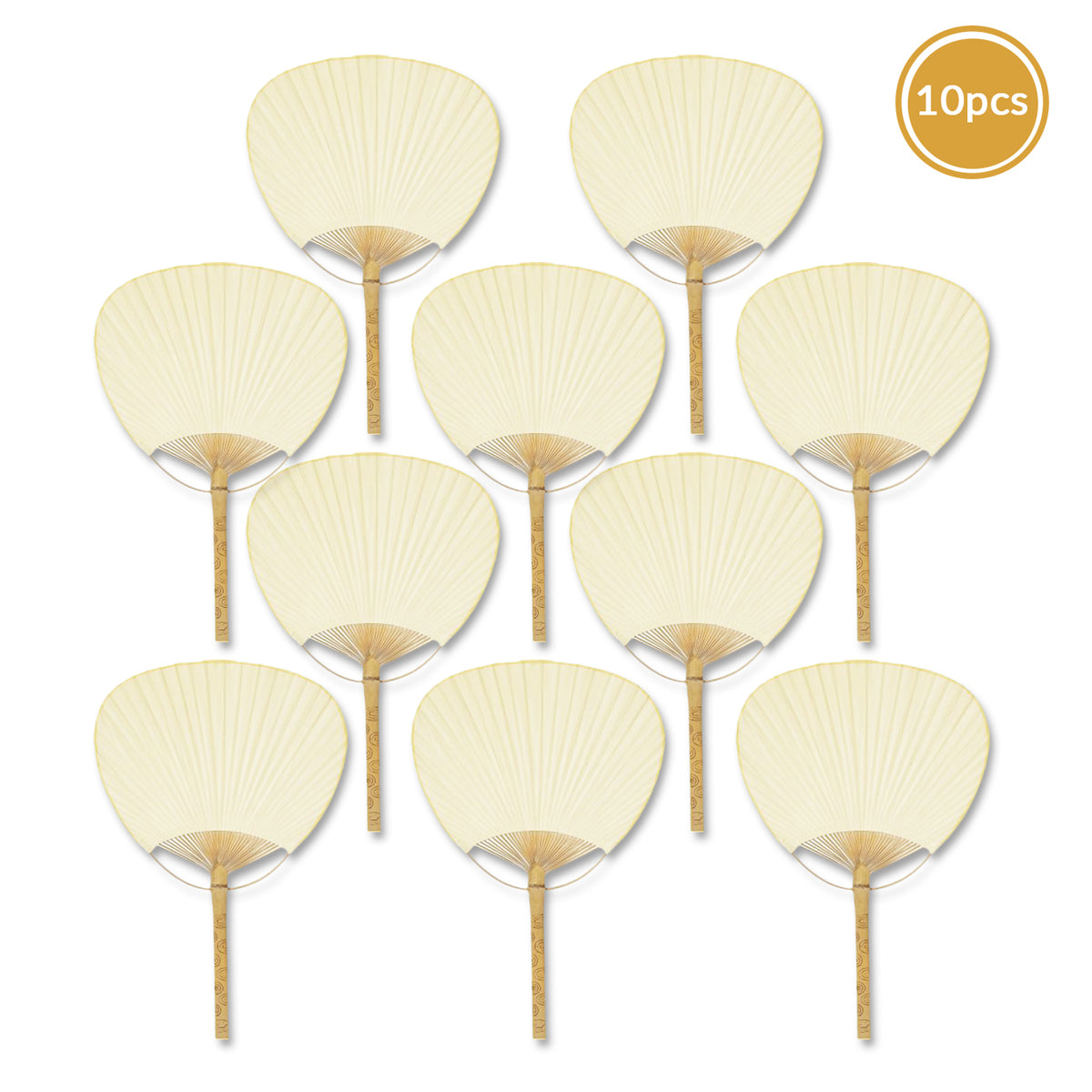"9"" Beige / Ivory Paddle Paper Hand Fans for Weddings (10 Pack)"