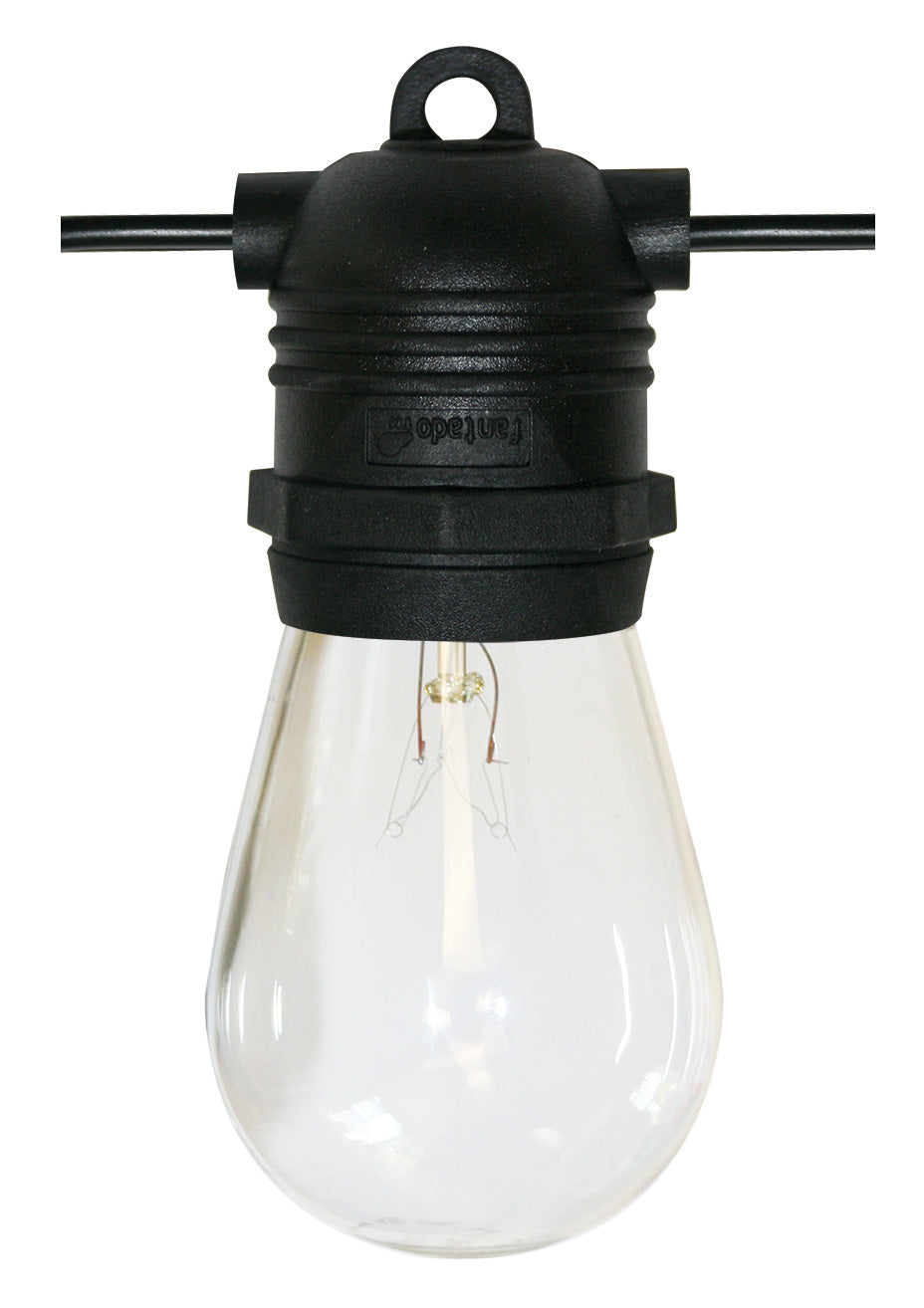 24 Socket Outdoor Commercial String Light Set, S14 Bulbs, 54 FT Black Cord w/ E26 Medium Base, Weatherproof