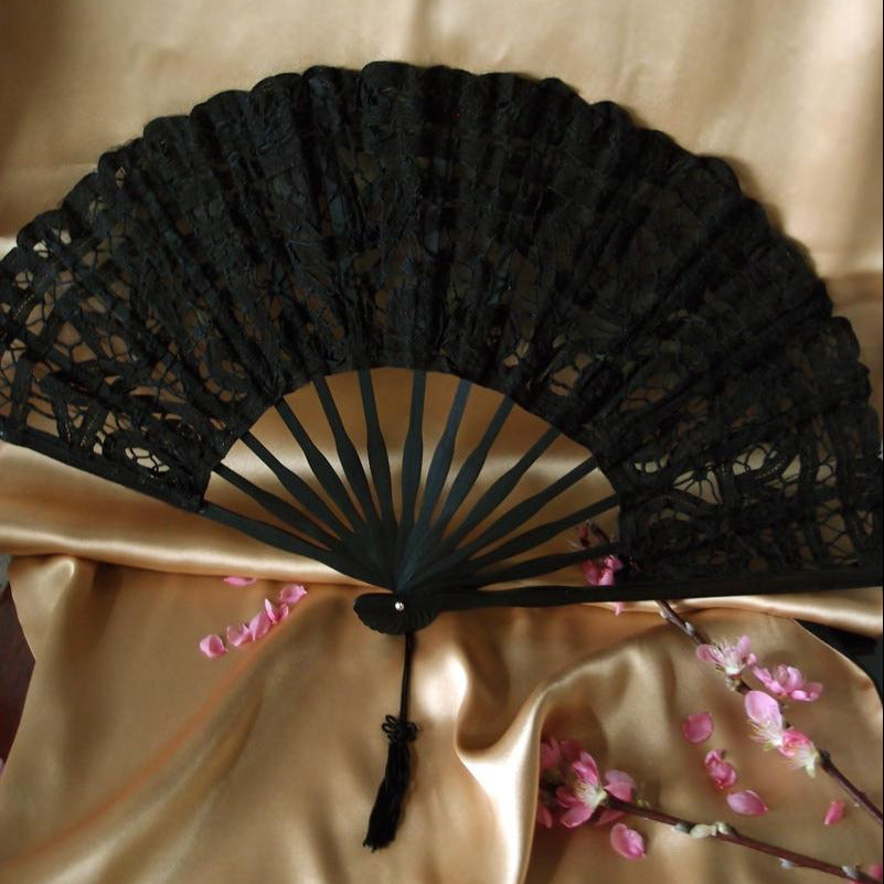 "11"" Black Lace Hand Fan for Weddings - PaperLanternStore.com - Paper Lanterns, Decor, Party Lights & More"