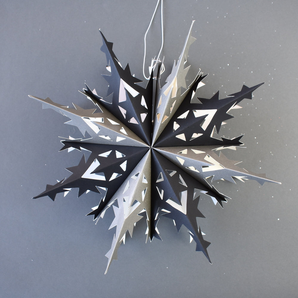 "BLOWOUT 10"" Black Premium Handcrafted Paper Snowflake Decoration"