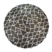 BLOWOUT 32 Inch Black and White Geometric Patterned Premium Paper Parasol Umbrella