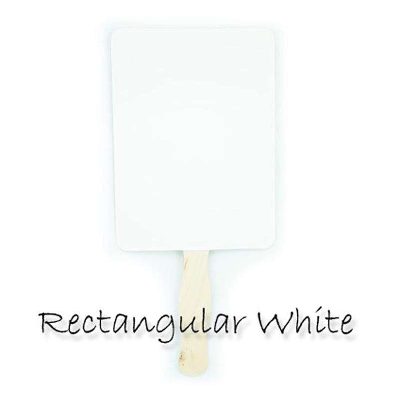 Blank Glossy White Rectangle Paddle Fans for DIY Wedding Invitations and Programs SINGLE - PaperLanternStore.com - Paper Lanterns, Decor, Party Lights & More