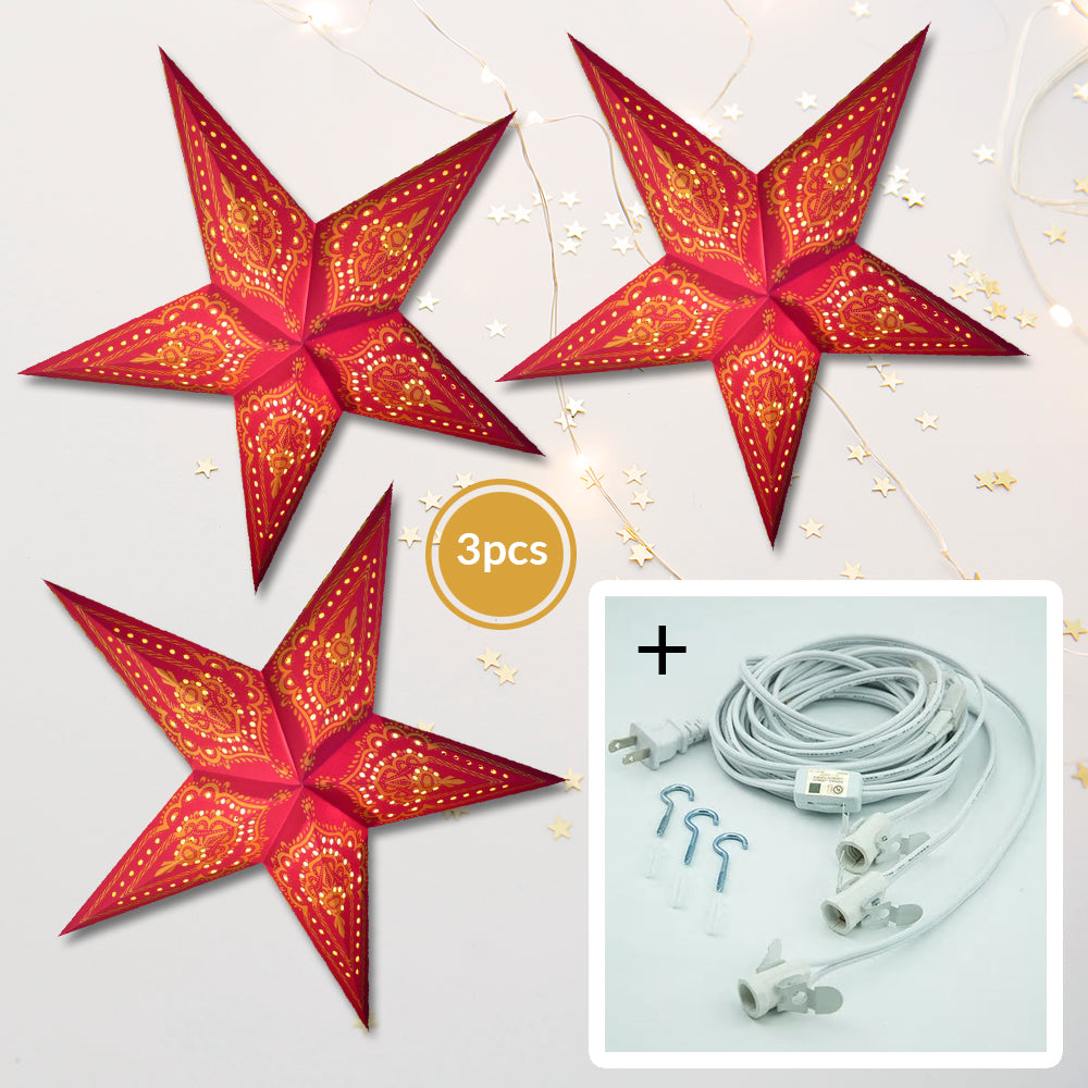 "3-PACK + Cord | Red Mehandi 24"" Illuminated Paper Star Lanterns and Lamp Cord Hanging Decorations"