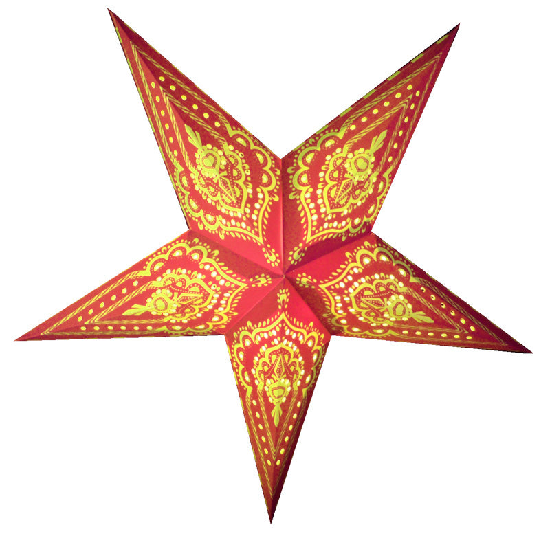 "24"" Red on Yellow Mehandi Paper Star Lantern, Chinese Hanging Wedding & Party Decoration"