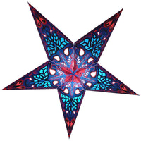 "24"" Blue Crown Paper Star Lantern, Chinese Hanging Wedding & Party Decoration"