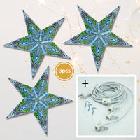 "3-PACK + Cord | Blue Dahlia 24"" Illuminated Paper Star Lanterns and Lamp Cord Hanging Decorations"