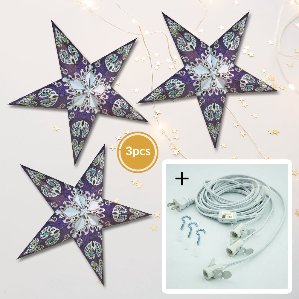 "3-PACK + Cord | Blue Galaxy 24"" Illuminated Paper Star Lanterns and Lamp Cord Hanging Decorations"