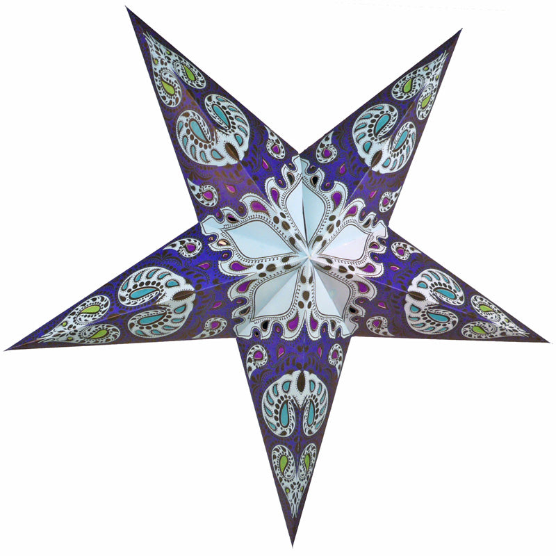 "24"" Blue Galaxy Paper Star Lantern, Chinese Hanging Wedding & Party Decoration"