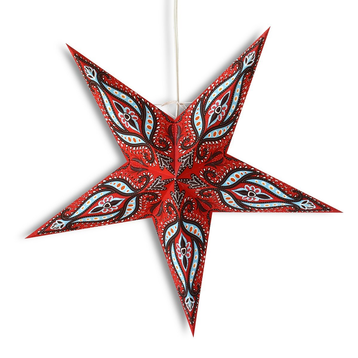 "3-PACK + Cord | 24"" Red / Black Bloom Paper Star Lantern and Lamp Cord Hanging Decoration - PaperLanternStore.com - Paper Lanterns, Decor, Party Lights & More"
