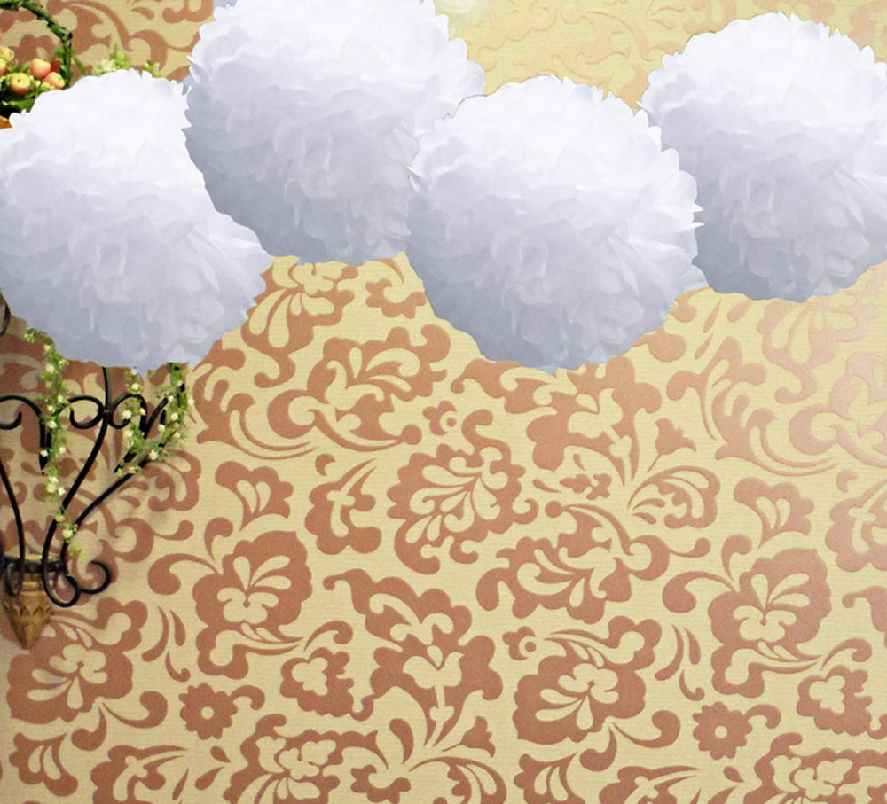 "EZ-Fluff 8"" White Tissue Paper Pom Pom Flowers, Hanging Decorations (4 PACK)"