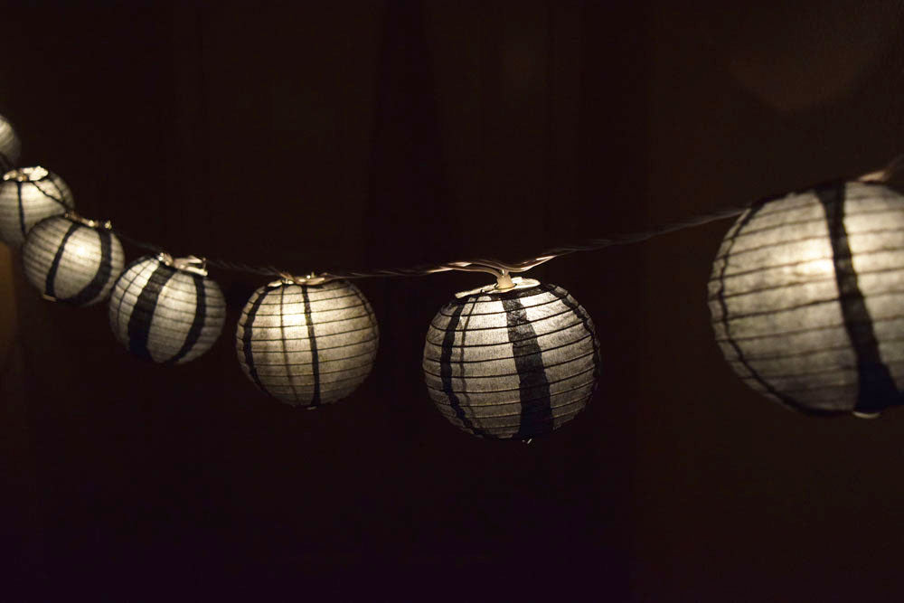 "10 Socket Black Round Paper Lantern Party String Lights (4"" Lanterns, Expandable)"