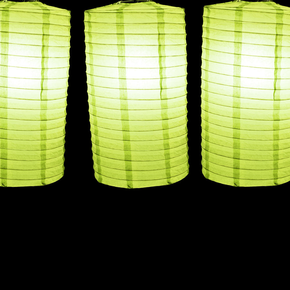 "8"" Light Lime Cylinder Paper Lantern"
