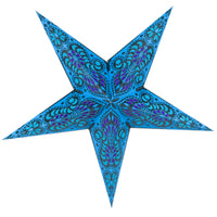 "24"" Blue Peacock Paper Star Lantern, Chinese Hanging Wedding & Party Decoration"