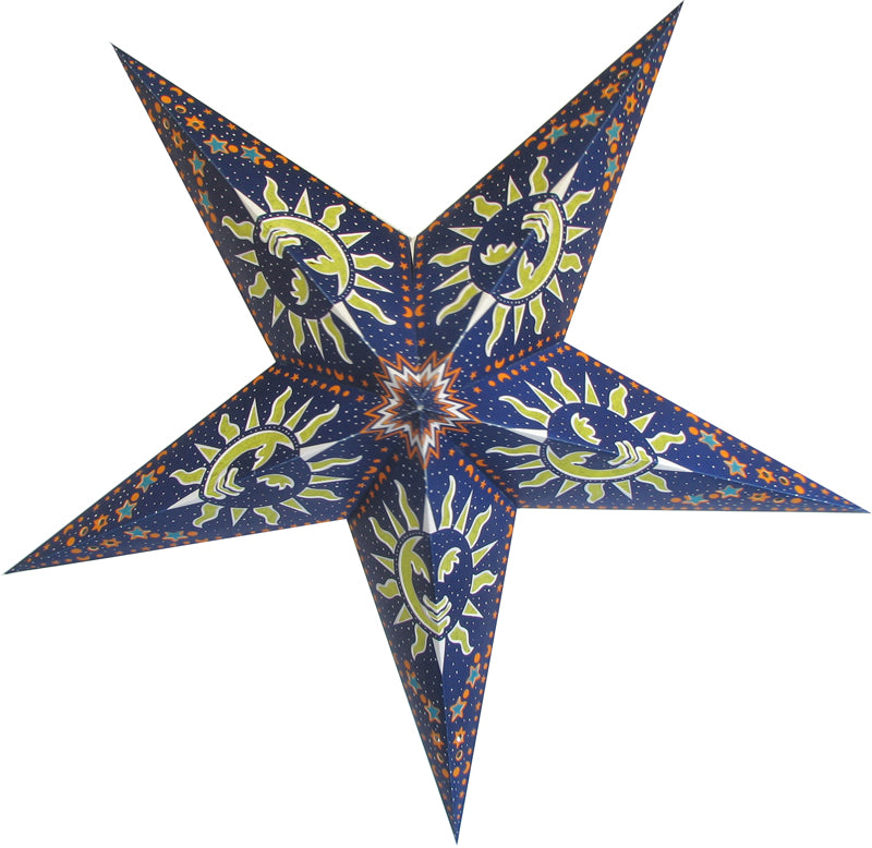 "3-PACK + Cord | Blue Sun and Stars 24"" Illuminated Paper Star Lanterns and Lamp Cord Hanging Decorations"