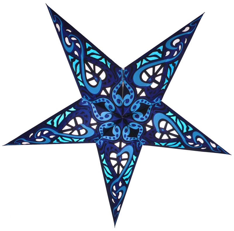 "24"" Blue Trance Paper Star Lantern, Chinese Hanging Wedding & Party Decoration"