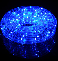 Blue Outdoor LED Fairy String Rope Light, 33 FT, Clear Tube, AC Plug-In