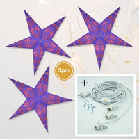 "3-PACK + Cord | Blue / Copper Glitter Winds 24"" Illuminated Paper Star Lanterns and Lamp Cord Hanging Decorations - PaperLanternStore.com - Paper Lanterns, Decor, Party Lights & More"
