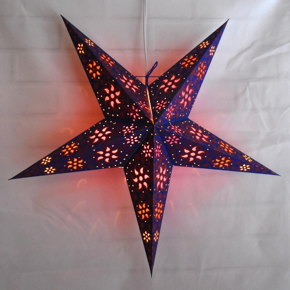 "24"" Blue / Copper Glitter Winds Paper Star Lantern, Hanging Decoration - PaperLanternStore.com - Paper Lanterns, Decor, Party Lights & More"