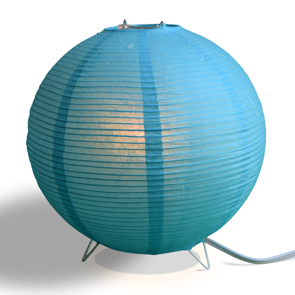 Turquoise Blue Corded Round Table Top Lantern Lamp Kit w/ Light Bulb, Fine Lines