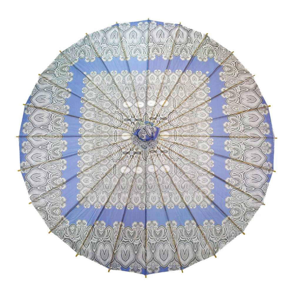 32 Inch Bohemian Silver Paisley Powder Blue Premium Paper Parasol Umbrella - PaperLanternStore.com - Paper Lanterns, Decor, Party Lights & More
