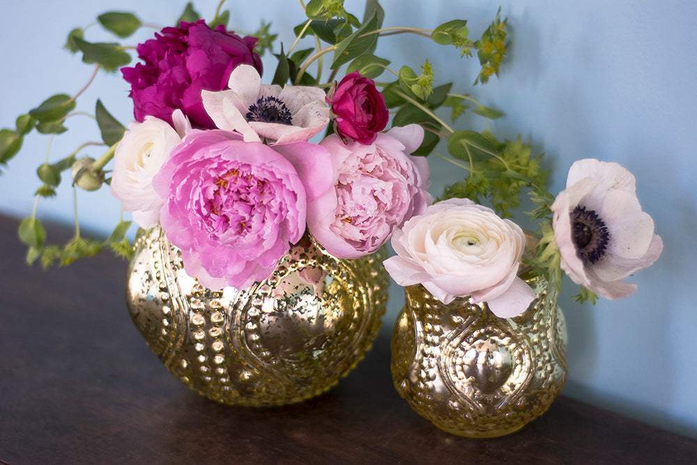 6 Pack | Mercury Glass Vase and Candle Holder (4-Inches, Small Josephine Design, Gold) - Use with Tea lights - for Home Décor