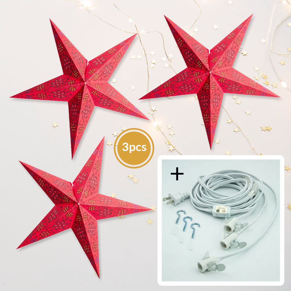 "BLOWOUT 3-PACK + Cord | Dark Red Winds Glitter 24"" Illuminated Paper Star Lanterns and Lamp Cord Hanging Decorations"