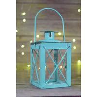 "BLOWOUT 4.5"" Water Blue Square Hurricane Candle Lantern Tea Light Holder"