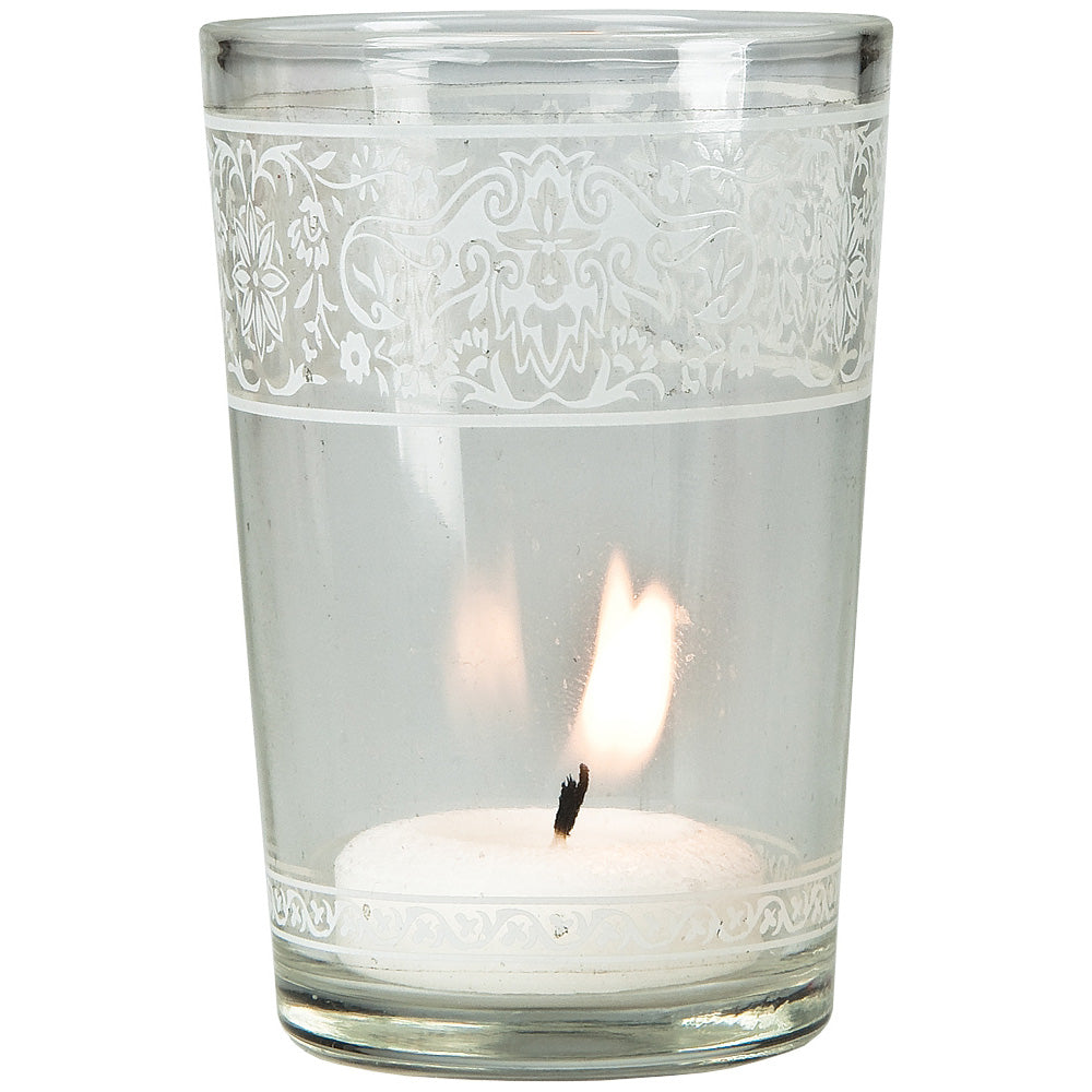 "3.25"" Clear Aliz Painted Glass Candle Holder"