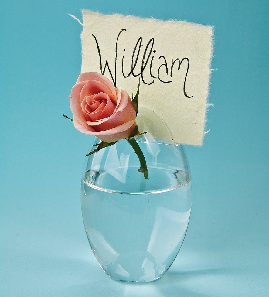 "4"" Clear Oval Glass Placecard Holder and Vase"