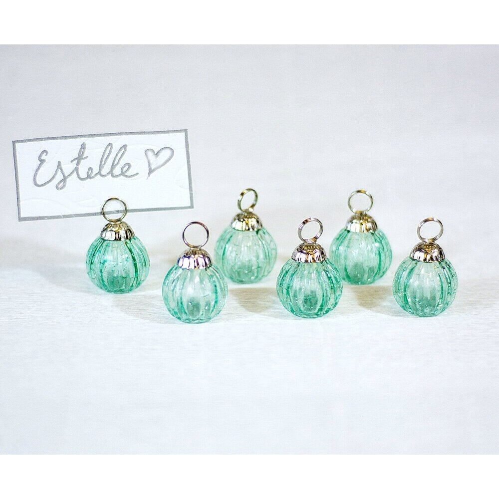 BLOWOUT 6 Pack | Mini Glass Bauble Place Card Holders (1.25-Inch, Turquoise Blue, Set of 6) - For Home Decor and Wedding Tabletops