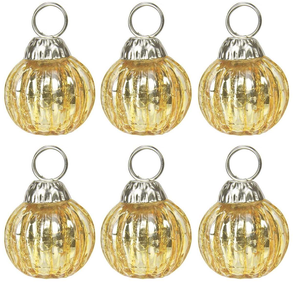 BLOWOUT 6 Pack | Mini Glass Bauble Place Card Holder (1.25-Inch, Gold, Set of 6) - For Home Decor and Wedding Tabletops