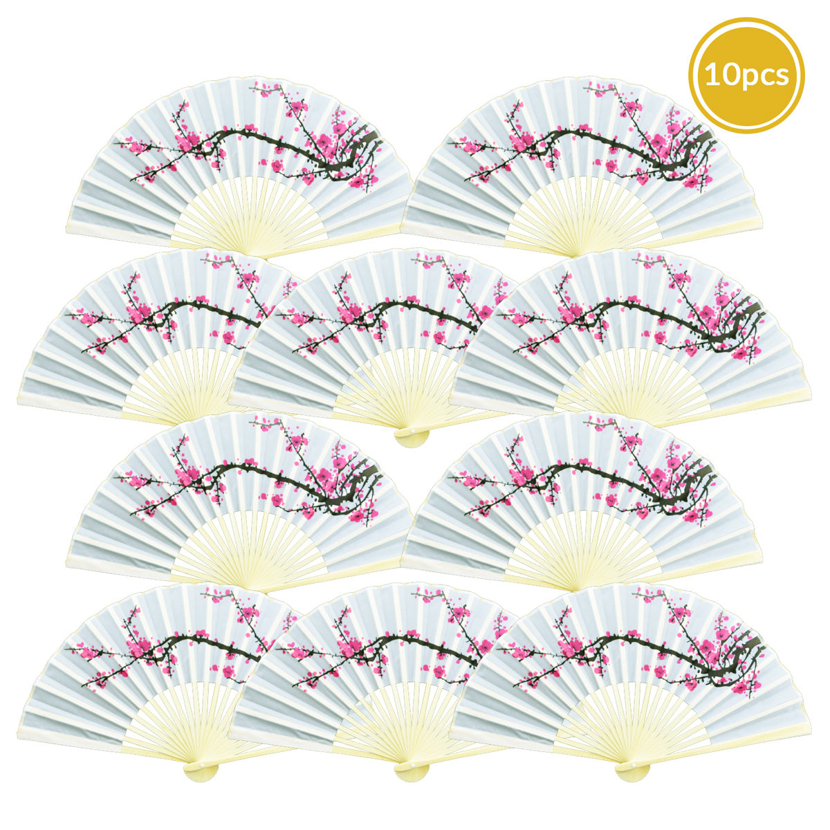 "9"" Cherry Blossom / Sakura Silk Hand Fans for Weddings (10 Pack)"