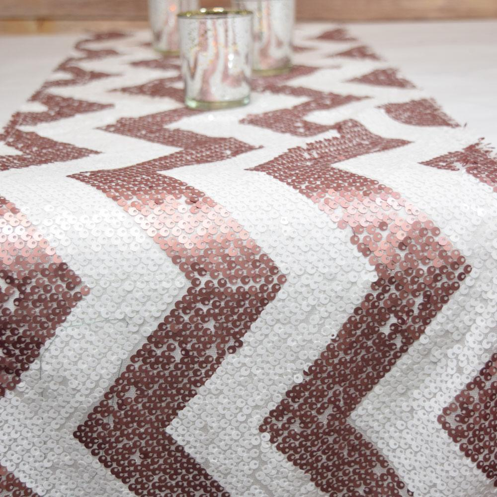 BLOWOUT Chevron Sequin Table Runner - Copper Pink & White (12 x 108) - PaperLanternStore.com - Paper Lanterns, Decor, Party Lights & More