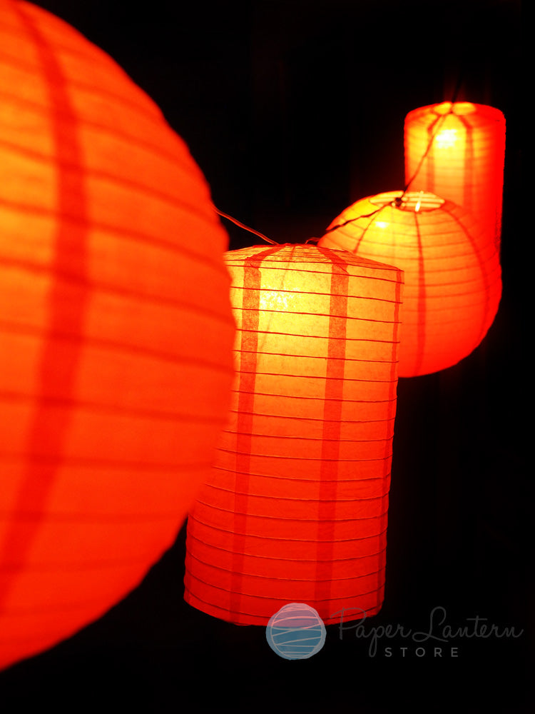 "8"" Chinese New Year Round & Cylinder Paper Lantern String Light COMBO Kit (12 FT, EXPANDABLE, Black Cord)"
