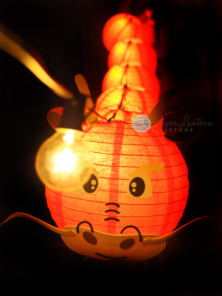 "8"" Chinese New Year Red Dragon Paper Lantern String Light COMBO Kit (12 FT, EXPANDABLE, Black Cord) - PaperLanternStore.com - Paper Lanterns, Decor, Party Lights & More"