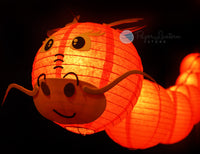"8"" Chinese New Year Red Dragon Paper Lantern String Light COMBO Kit (12 FT, EXPANDABLE, Black Cord)"