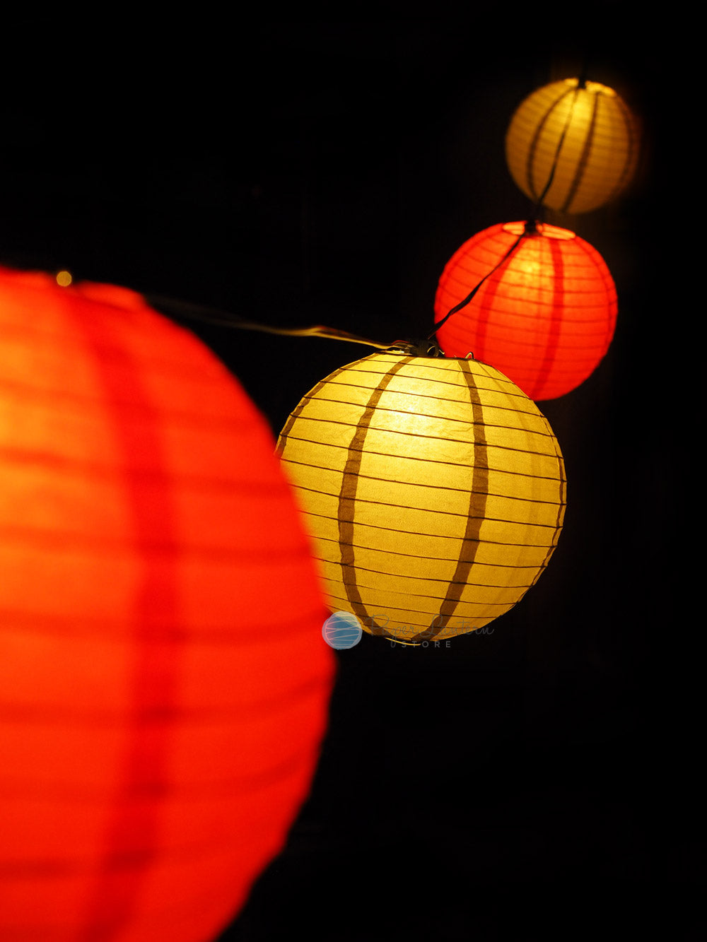 "8"" Chinese New Year Red and Gold Paper Lantern String Light COMBO Kit (12 FT, EXPANDABLE, Black Cord)"