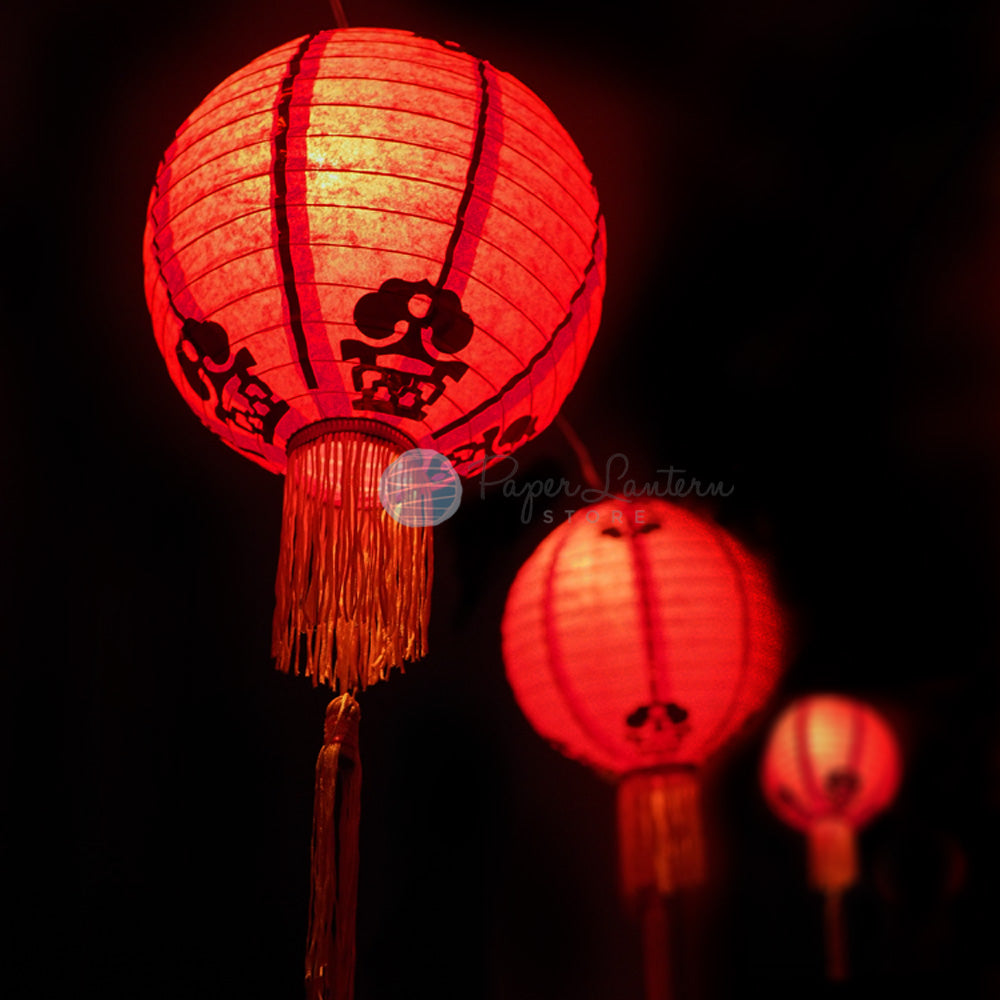 "12"" Traditional Chinese New Year Paper Lantern String Light COMBO Kit (31 FT, EXPANDABLE, Black Cord)"