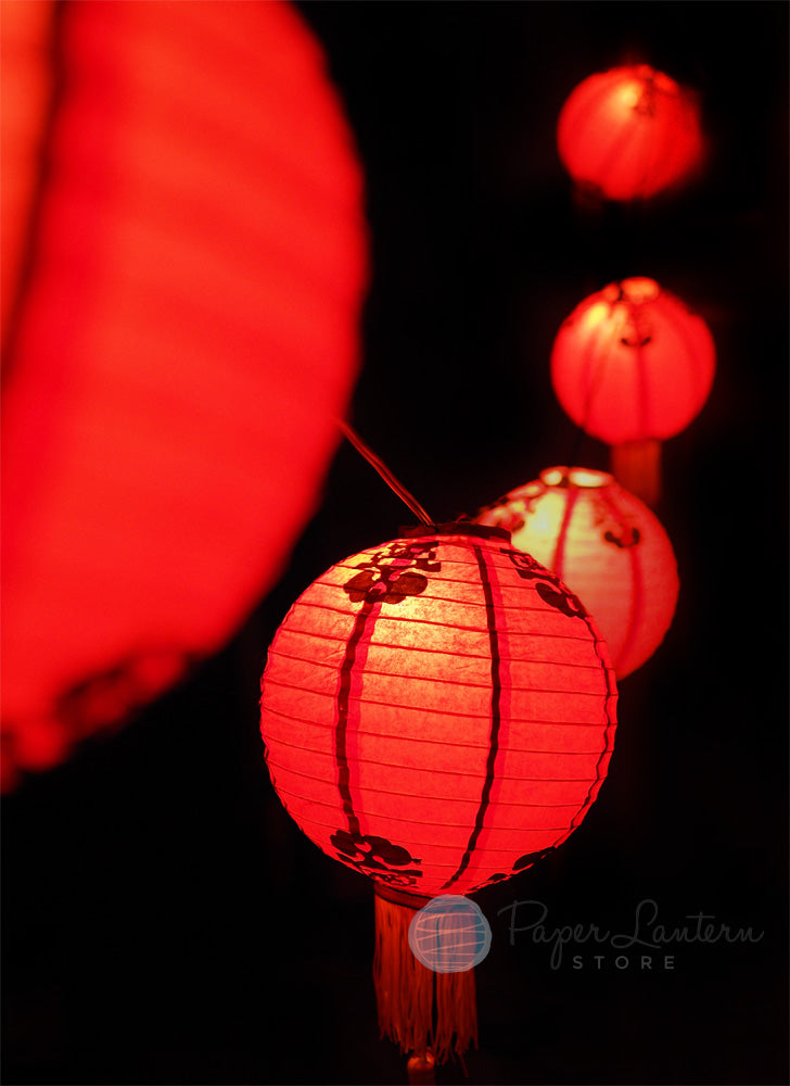 "8"" Traditional Chinese New Year Paper Lantern String Light COMBO Kit (12 FT, EXPANDABLE, Black Cord) - PaperLanternStore.com - Paper Lanterns, Decor, Party Lights & More"