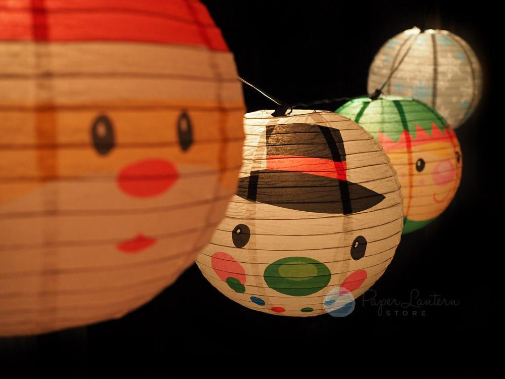"BLOWOUT 14"" Christmas Holiday Character Mix Paper Lantern String Light COMBO Kit (21 FT, EXPANDABLE, White Cord) - PaperLanternStore.com - Paper Lanterns, Decor, Party Lights & More"