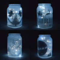 Decorative Christmas Holiday Frosted White Mason Jar Luminaries Lantern Set (Battery Operated, 4 PACK)